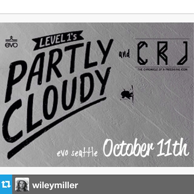 #Repost from @wileymiller with @evo @level1. Check it out Seattle, our CRJ flicks playing before #partlycloudy tomorrow. The one show you should definitely make.
