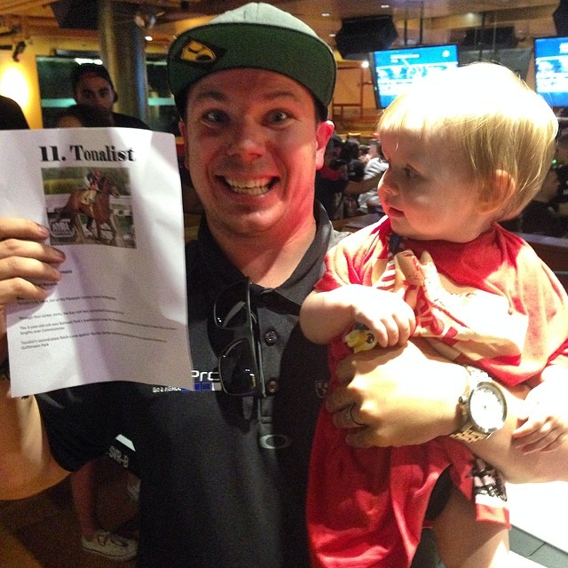 Winner winner chicken dinner for the youngest participant in the Belmont Stakes pick'em for @hi5sfoundation | #pip belongs to @chonefig and @sarahmcconarty