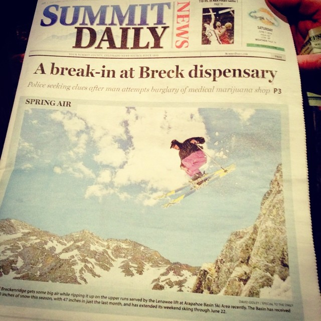 Hanging in Breck and wouldn't you know, Joe Adams pictured here, snags the current cover of @summitdailynews shredding @arapahoe_basin on some 4FRNT Cody's. A-Basin is open til June 22nd. Be like Joe and keep sendin it!