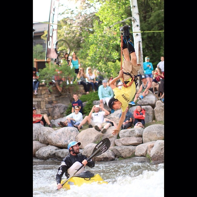 Kind Design athlete Davis Hermes killed it at the GoPro Mountain Games, winning his slack line competition.  Here he is hanging from the highline, reaching for a high five from a passing kayaker. #kinddesign #liveyourdream #GoProMTNGames #vail #colorado