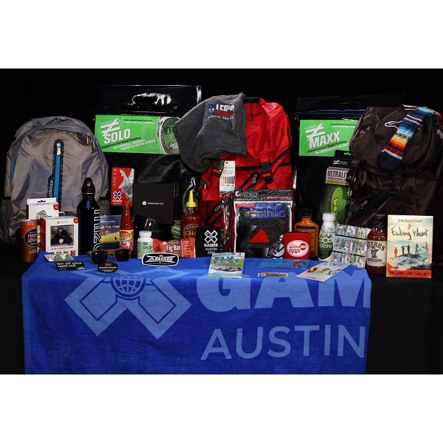 Athlete gift bags are looking sweet this year. Thanks to all the companies for the gear! #XGamesAustin