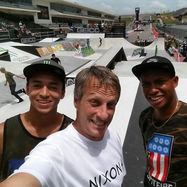 You are experiencing the @tonyhawk takeover of @xgames Instafeed. I snuck into mens street  practice to harass everyone before their final runs. Nyjah & Ishod obliged.