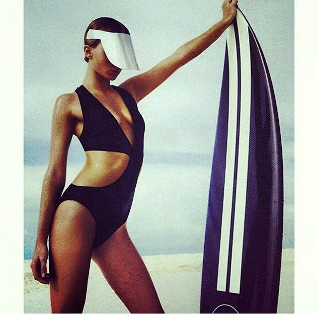 #youdidnotsurfinthat -- hard to see the waves with a visor that goes past your chin.  But on a positive note, her board matches her outfit.  #regram #wherearethewavesicantsee @vanessinator Thanks for this gem!!