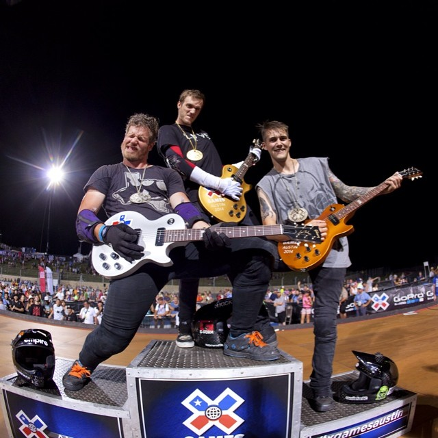 Gold, silver and bronze guitars. Thanks @gibsonguitar for taking care of the athletes! #XGamesAustin