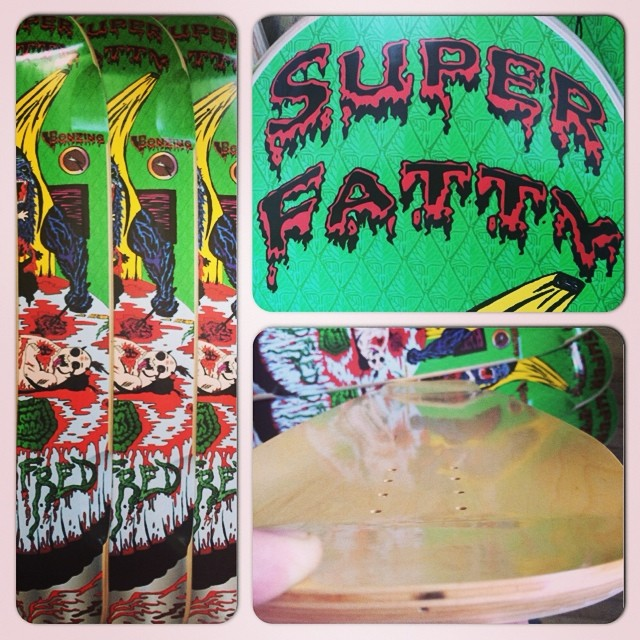 Super Fatty's are back in stock! It is one of our favorites; beautiful concave, shape and graphic!  Pick one up today!  #bonzing #superfatty #deadfred #chadlybrand #sanfrancisco #shapers #artists