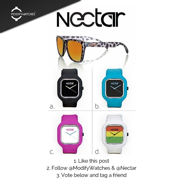 We teamed up with @modifywatches to make the first Nectar watch! Vote to win! || #nectarshades #thesweetlife #modifywatches