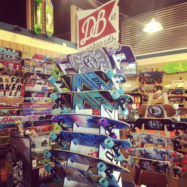 @boardroom_boise is the EPICenter for @dblongboards in ID. Fully stocked rack, ready to shred! #boardroom_boise #skunklife #boise #atlastrucks #cloudridewheels #dblb