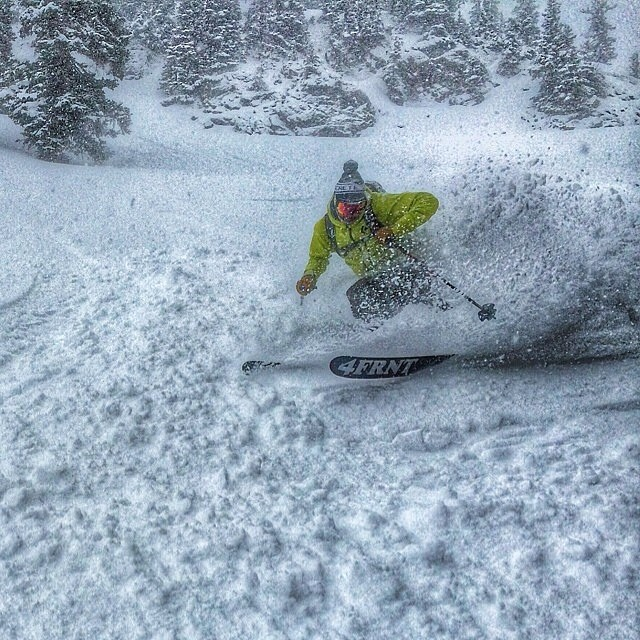 Just dreaming of pow turns in the oppressive heat of summer. #tbt with @dane3030 on his HOJIs.