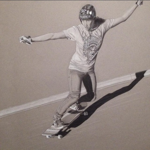 Epic oil painting of @carmen_sutra! Created by @gnarly___carly... Happy Friday! #calibertrucks
