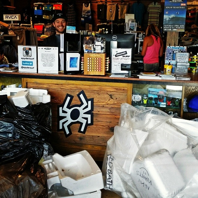Big pile of recycled styrofoam from @spydersurf in Hermosa Beach. Stoked to see people bringing in their foam to be recycled with Waste to Waves!
