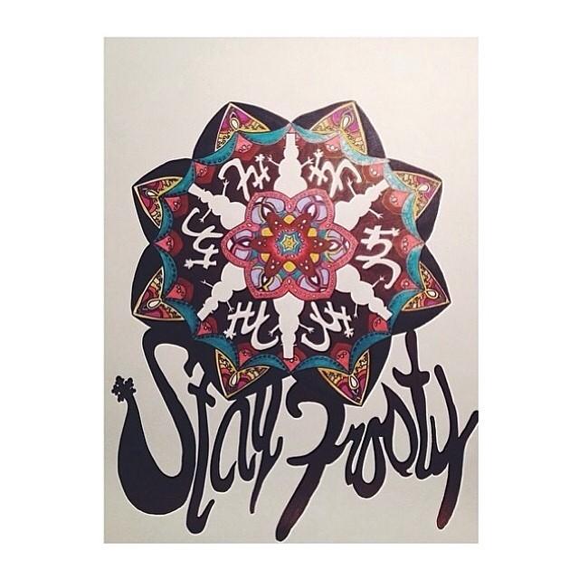 Original 'Stay Frosty' piece now on sale through www.frostyheadwear.com❄️#art #frostyheadwear⛄️piece was done by a talented artist from Minnesota, @dreabeats