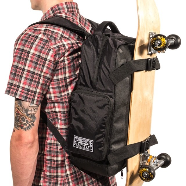 We've talked a lot about our OG backpack carrying longboards, but we think it's the best damn skate bag out there too! No more of your board sliding and smacking you in the ass! Available at concretenative.com #sk8life #skatelife #skatebag #backpack...
