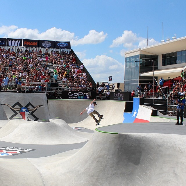 Photos and videos keep coming in from @graceflix @xgames // Here's a shot from #SkatePark #XGamesAustin #nailedit #xgames #skateboarding #mediapass