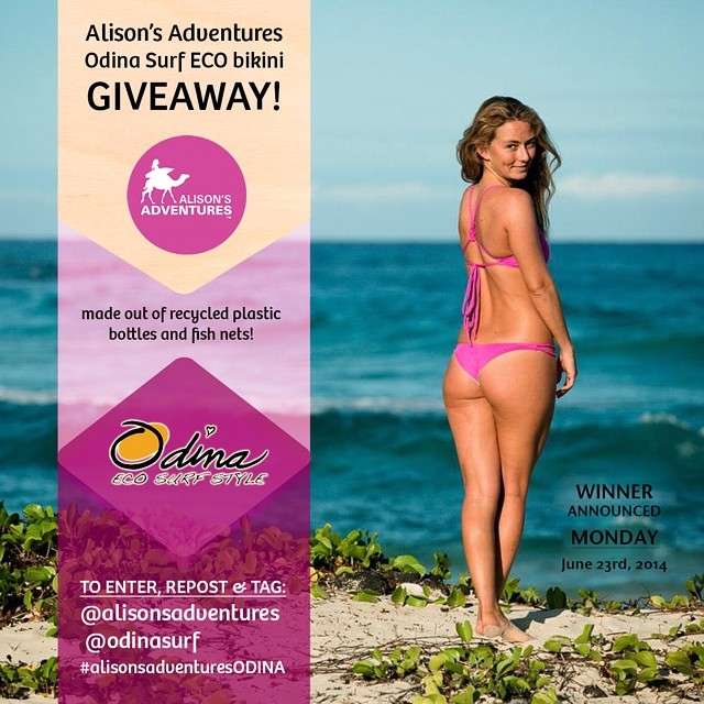 "Day two! Win an ""Alison's Adventures pink ECO bikini"" by following these two easy steps:  1) Follow @Odinasurf & @alisonsadventures on INSTAGRAM ONLY 2) Repost this photo and tag @alisonsadventures @Odinasurf #AlisonsAdventuresOdina  Winner will be..."