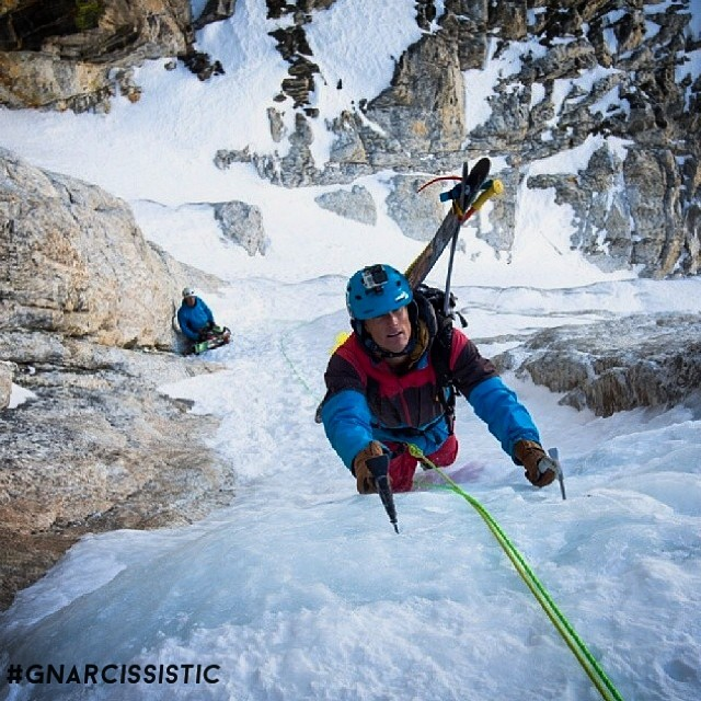 """Your poles probably suck compared to ours"" check out our friends at boldpoles.com (@boldpoles) for custom poles and some serious shred. This is founder @o_leeps 4wks ago working the crux of the stettner couloir for some turns down Grand Teton. ..."