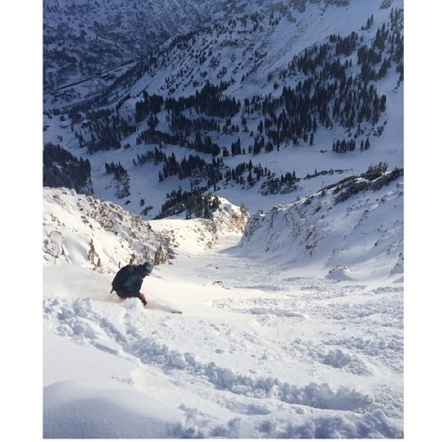 #regram from @lightpolelifestyle of Flylow's @ericbalken and Noah Wetzel skiing pow at @altaskiarea June 18th. #wintercontinues