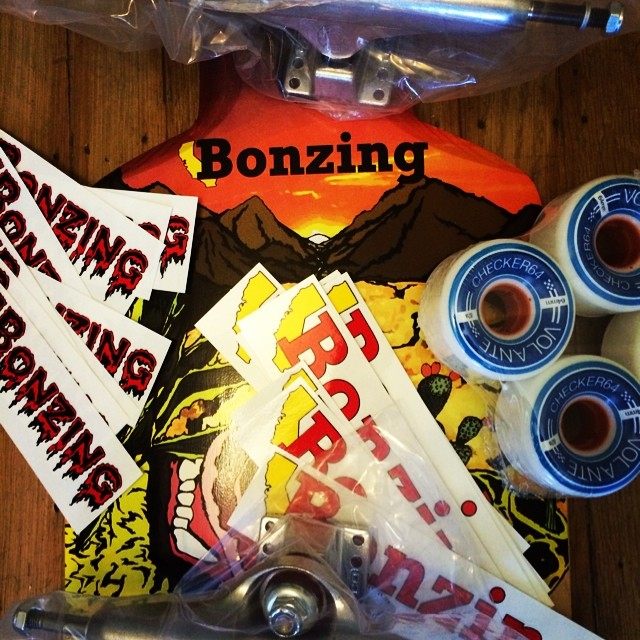 "T minus 3 days until go skate day!  If you live in the Bay Area go to the ""Sweet Spot Race this Saturday to win these awesome prizes from  @bonzing, @volantewheels and @calibertrucks!"
