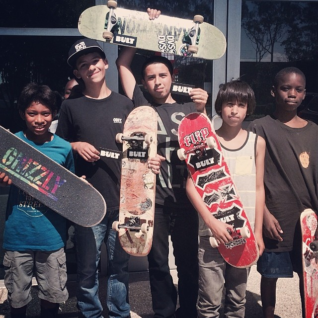 These dudes were skating the gap in the front of the office the other day. Hooked them up with some stickers and high fives for being rad! #skateboardingisNOTacrime #bulthelmets #bult