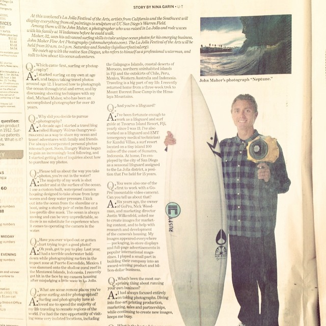 Big ups to Johnny Maher for the recent write-up in the Union Tribune @john_maher_ #hungrywalrus #lovematuse