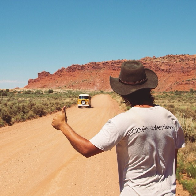 @idletheorybus adventuring in our Adventure tee