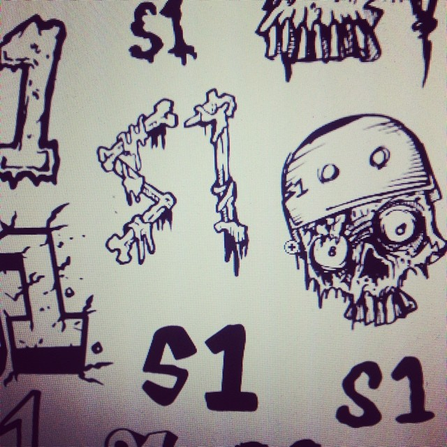 @bobbydrawsskullz working on a new #s1helmets #stickersheet . #skulls #s1