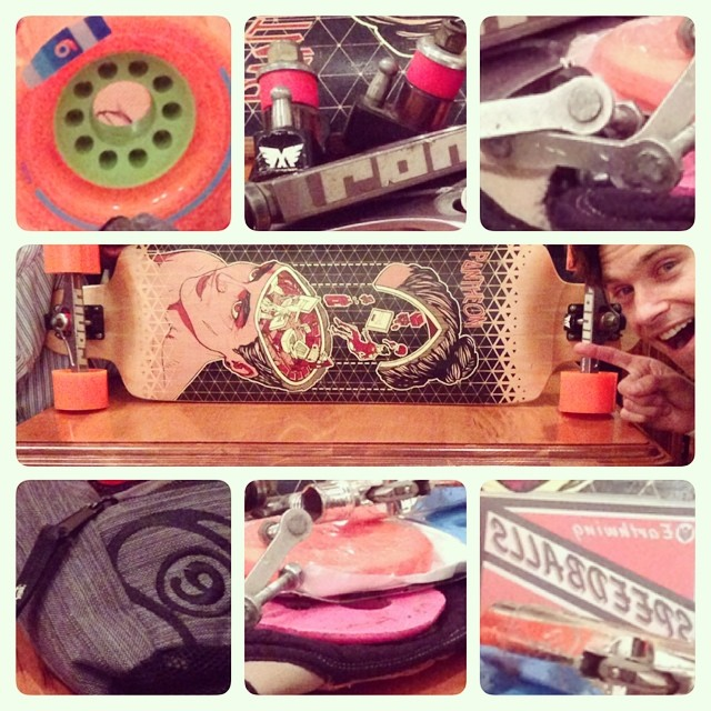 I love DH starts tomorrow! Just gettin set up! #skateboard #gofast #pushculture #orangatangwheels #holesome #sector9  #earthwing #rogerbros #ronintrucks @pantheonlongboards