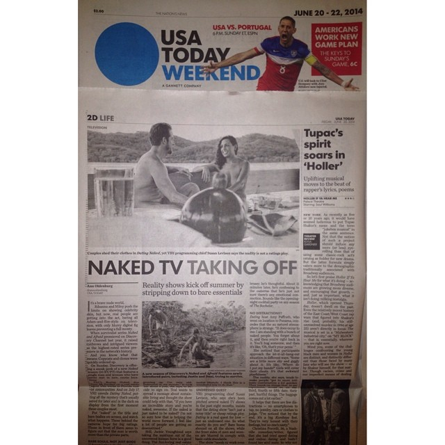 "I'm interviewed in @usatoday setting the ""NAKED"" record straight. On stands today & online."