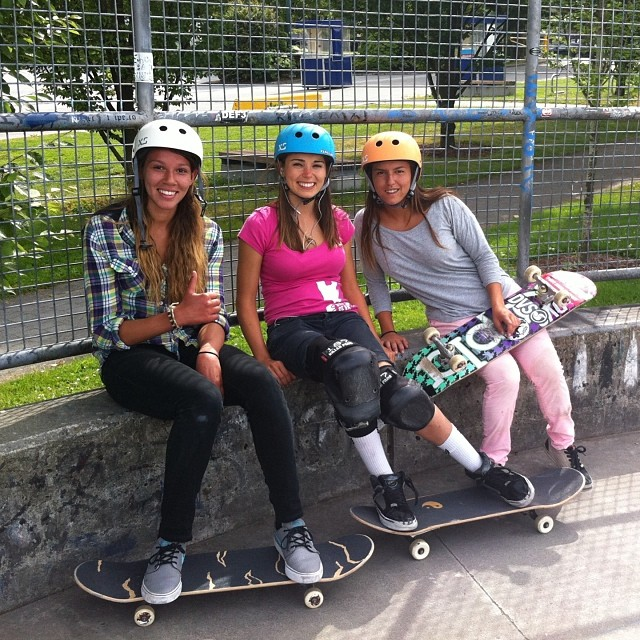 Three rad girls! Photo from last week in #vancouver with @ameliabrodka @huntahlong @justyce_tabor at the historic #hastingspark. #xshelmets #xsteam #travel #adventure
