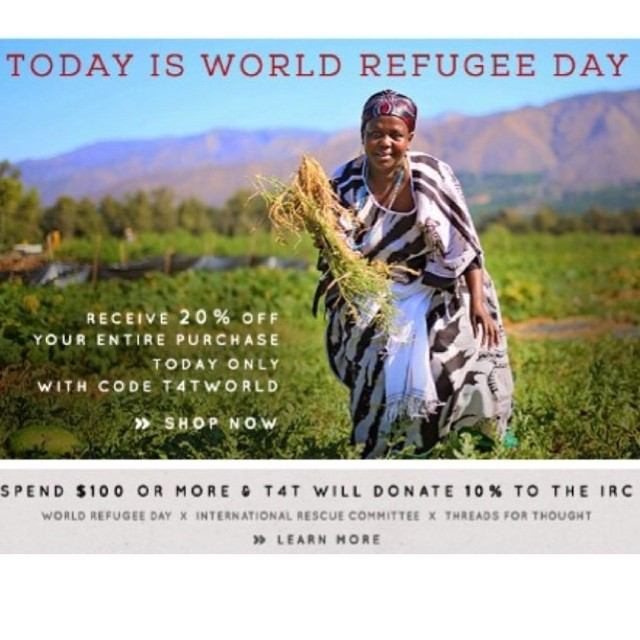 There's still a few hours left to help us support @theirc and the work they do for #refugees worldwide! #worldrefugeeday #fashionfriday #shopthecause #charitable #dogood #ff #follow