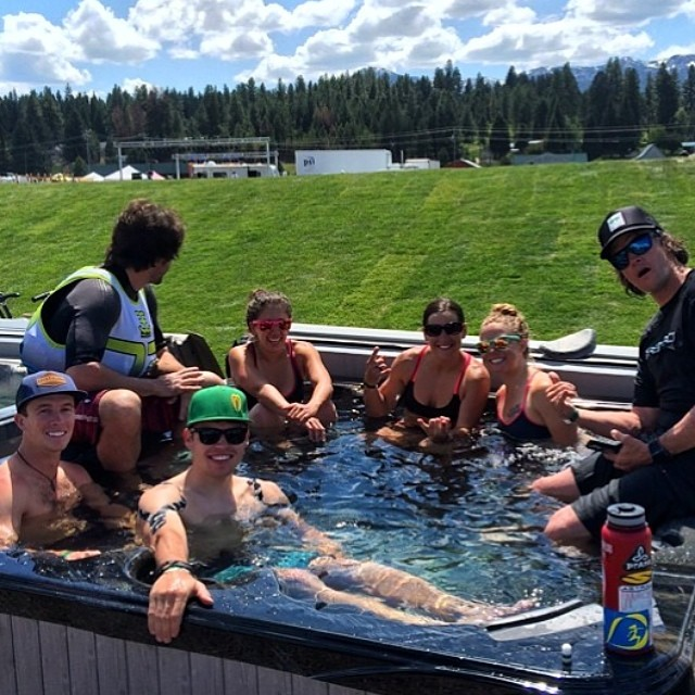 1st day sup races were a success! Hot tub sesh is a must! Living large with the major playas! PC: @rivershred