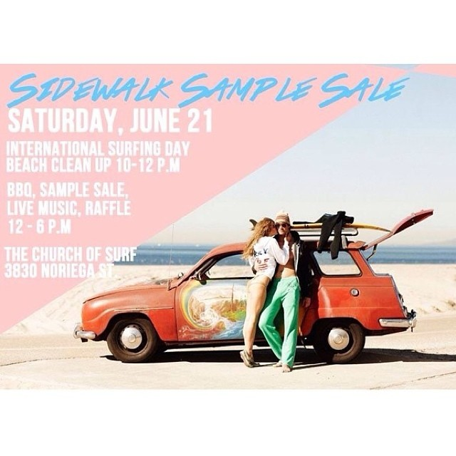 Hey SF - in honor of International Surfing Day, we've teamed up with @surfrider and @sanfranpsycho for a paddle out, sample sale, and BBQ including a live performance from Joshua Cook and Key of Now, drinks from Ninkasi Brewery and Blue Bird Wines, and...