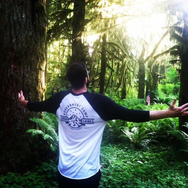 Enjoying the wilderness in the new Mt.Hood raglan! Last week to snag one for $20.00 before they go up! #firewaterfriends #pnw #camping