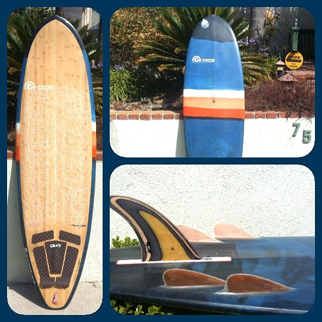This 6'8 bonzer hull #ecoboard by Ryan Harris has been sitting in our museum exhibit for the past 9 months. It just got returned and now has a fresh coat of wax and a recycled skateboard fin by @pushfins. Stoked to get it back in the water!...
