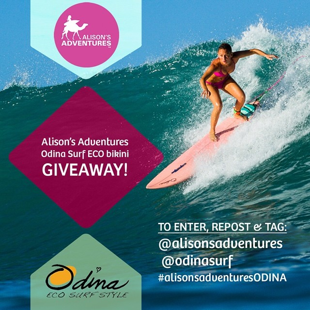 "Last day to drop in big and win an ""Alison's Adventures pink ECO bikini"" by following these two easy steps:  1) Follow @Odinasurf & @alisonsadventures on INSTAGRAM ONLY 2) Repost this photo and tag @alisonsadventures @Odinasurf..."