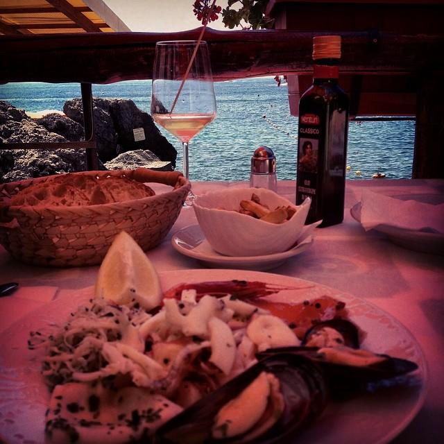 I'm on the #mediterranean diet #oliveoil #fruttidemare #antipasto #wine #freshbread #amalficoast #italy #travel #wanderlust