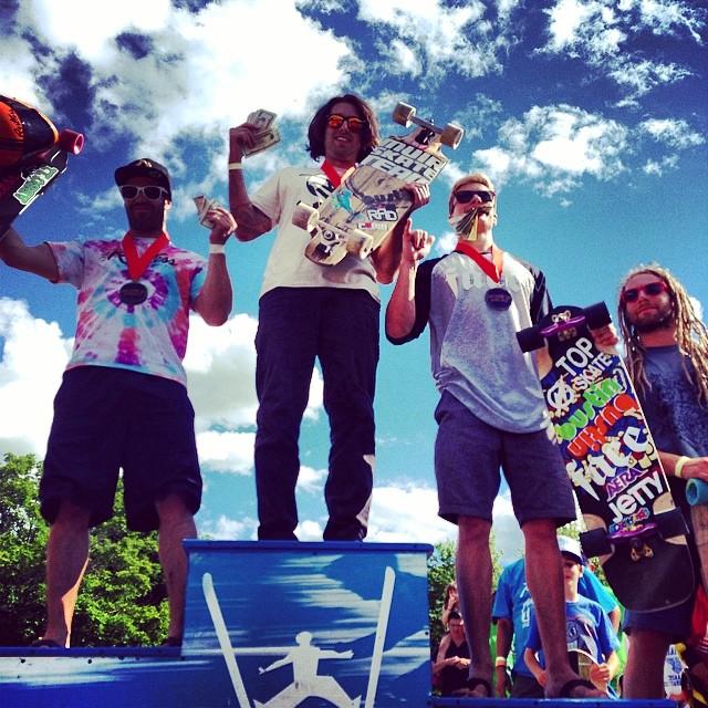 Pro podium at #ilovedh2014 1-Max Ballesteros 2-Nico Desmarais 3-Jonas Richter 4-Will Royce #bustinboards