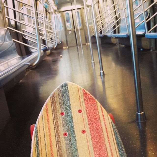 First chance to skate an empty subway car! #gronyc #skateboardinglove