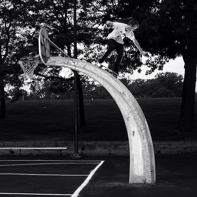 Rad photo from #issue31 #steezmagazine of #djward shot by #danward #skateboarding #basketballhoop