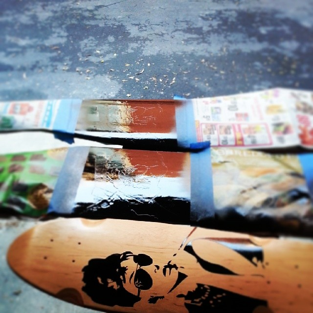 Painting up some decks! 2 Abes and an Audrey #fillingorders #longboard #roadrashboardco #abe #audrey