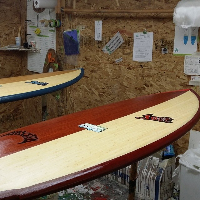 "Sneak peak of some Lost #ecoboards being made at E-Tech. Sick bamboo decks and resin colors. Order your next lost ""eco"". @mayhemb3_mattbiolos @etechboards @lostsurfboards"
