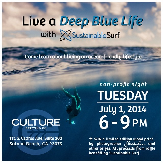 Come down to @culturebrewingco in Solana Beach on Tuesday, July 1 from 6-9pm! Not only is it the last night that my wood prints are up on the walls at Culture but it's also a night benefitting @sustainsurf's initiatives like #DeepBlueLife.  They will...