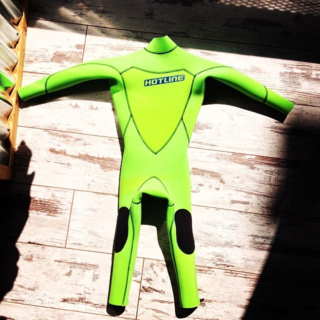 ~Custom green mini grom suit~ #HotlineWetsuits #SantaCruz #SuperGrom #Custom #HandMade #Local