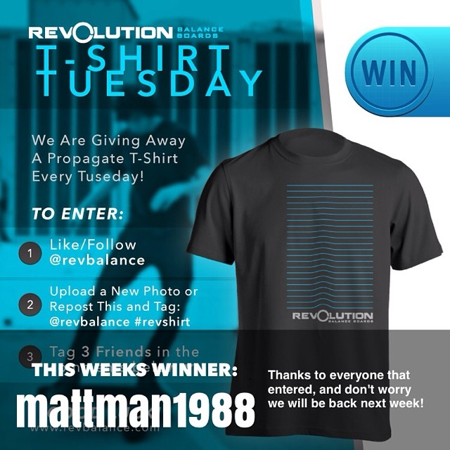 Congrats to @mattman1988 for being this weeks shirt winner. Thanks to all who entered and don't worry we will be back next week with another giveaway!