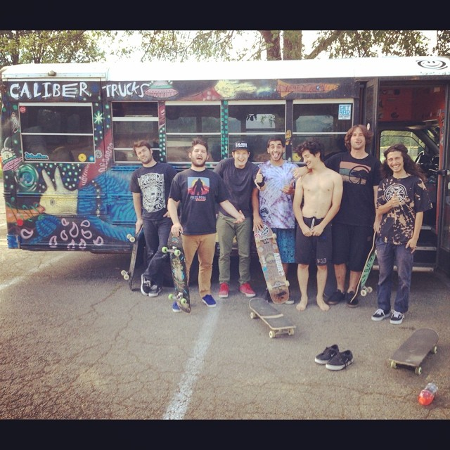 Cruisin' for a Brucin' on the #keeponbussin tour with the homies! @jameskelly_shm @tyler_howell_sb @chubbaluv @_littlecreek_ @yeehawpete @f_cooper_d @bigdave_hsf @maxwellmyers #sunsetsliders #calibertrucks
