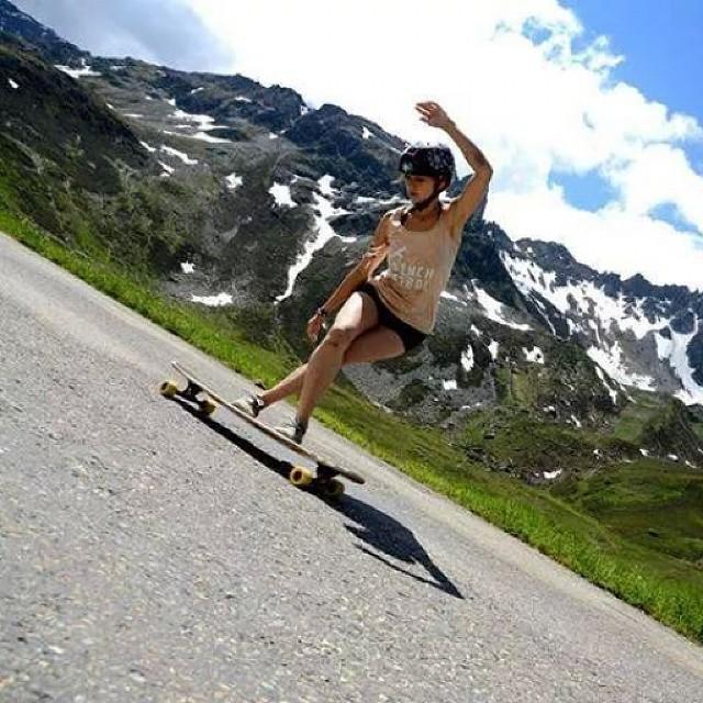 Alexandra Kubiak Ho-Chi having fun in the mountains. Photo by Laurent Perigault #longboardgirlscrew #girlswhoshred