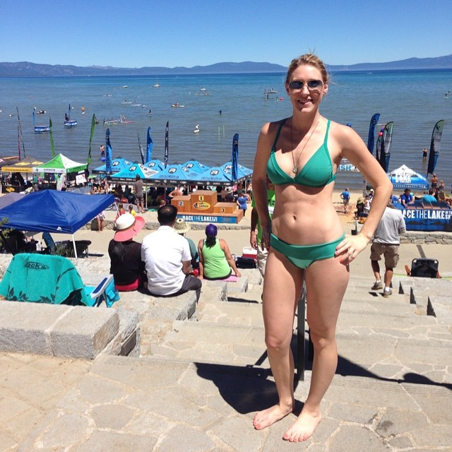 Beautiful Sasha in her new bikini at @racethelake in South Lake Tahoe! ✌️