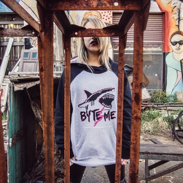 Byte me! #shark #stamp #design #pixel #pixelart #hoodie #buzo #urbanlife #tiburon #black #grunge #fashion #lookbook #cool #moda #mode #photo