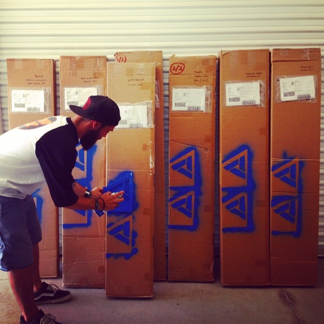 When we say we ship in July, we mean it!! And we pack it ourselves!! Our Sales Manager, Jason, packing and putting on the final touches of our first round of shipments!! Check out your local shop for the 14/15 product!! #goodpeople #greatsnowboards...
