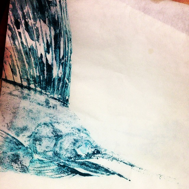 Just a little tease... Super stoked about this art - stay tuned for finished product! #gyotaku #richiegudzanart