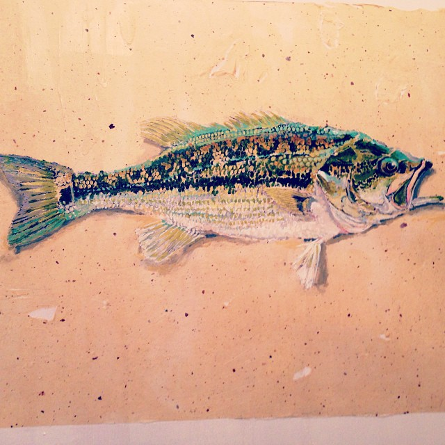 New original art (gyotaku) - Coosa River spotted bass. Very cool native fish, and very delicious